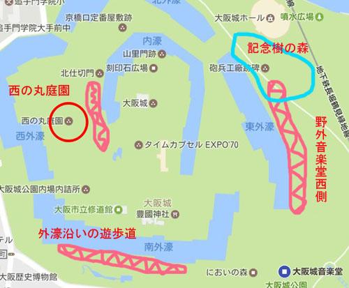 大阪城公園の地図