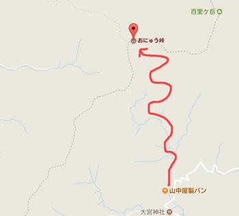 おにゅう峠の地図